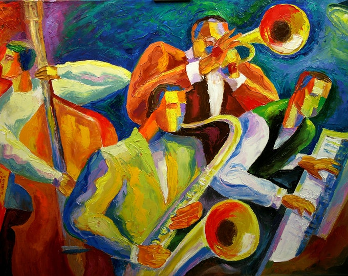 For Sale in Europe, Asia, Australia - Large Custom made Wall Art Canvas Prints Best Gift Stretched Jazz Music Art by Leon Zernitsky