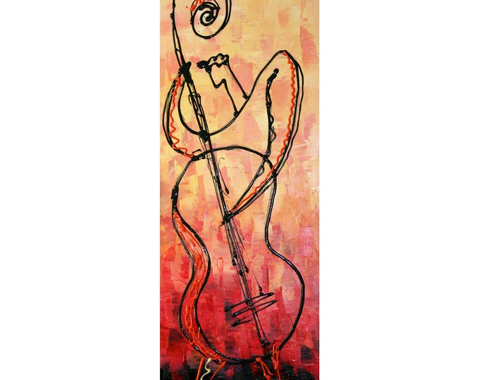 Custom made Canvas Art Abstract bas Stretched Ready to Hang Canvas Print Jazz Music Modern Art by Leon Zernitsky