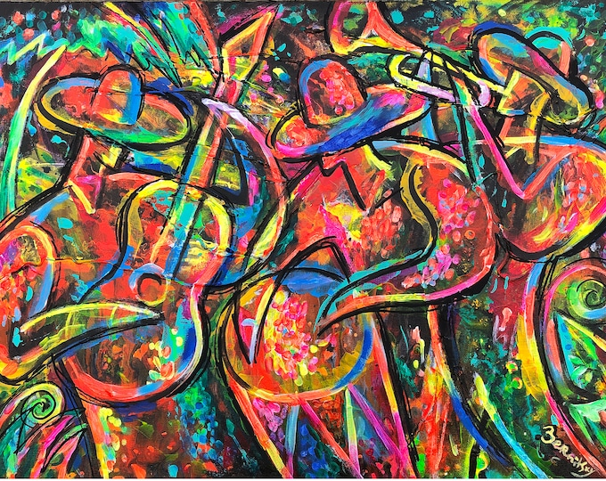 ORIGINAL Latin Music ART, Abstract Painting, Wall Art , Modern Painting, Gift for Jazz Music lover, Painting, stretched on a wooden frame