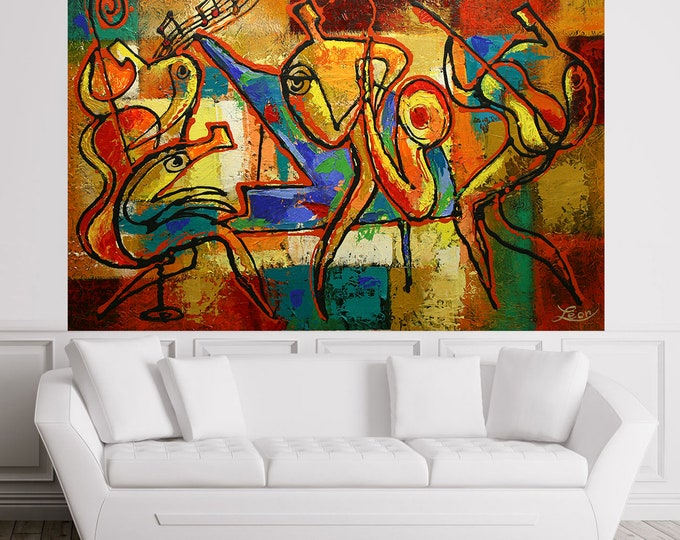 Stretched Canvas Art Contemporary Decorative Jazz Klezmer Music Modern Abstract Print Home Wall Decor by Leon Zernitsky