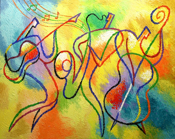 Canvas Art Abstract Stretched Ready to Hang Canvas Print Klezmer Jazz Music Modern Art by Leon Zernitsky