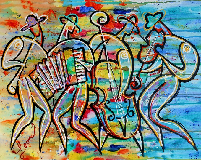 Canvas Wall Decor Art Abstract Stretched Ready to Hang Jewish Canvas Print Klezmer Jazz Music Modern Art by Leon Zernitsky