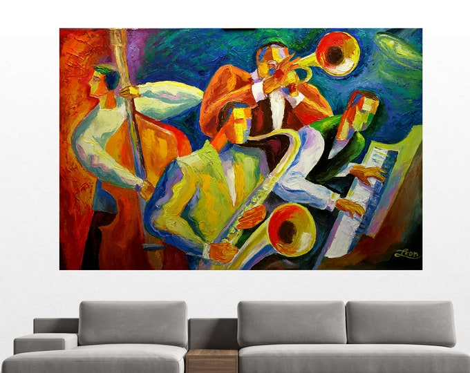 Stretched Canvas Art Contemporary Large Decorative Jazz Klezmer Music Modern Abstract Print Home Decor by Leon Zernitsky