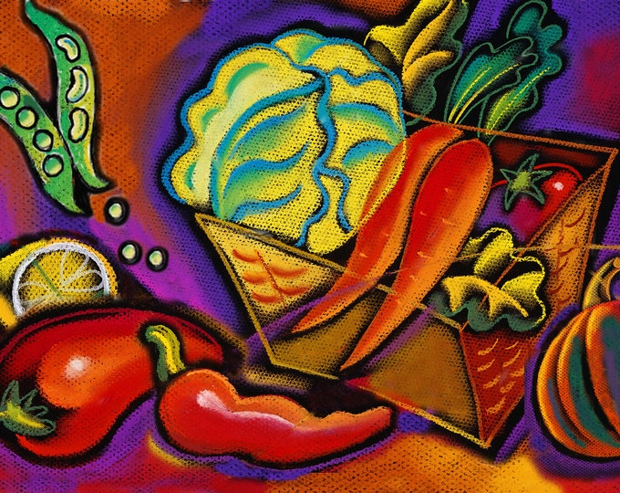 Canvas Art Abstract Stretched Ready to Hang Canvas Print Healthy Organic Vegetables Modern Art by Leon ZernitskyMother's Day Gift