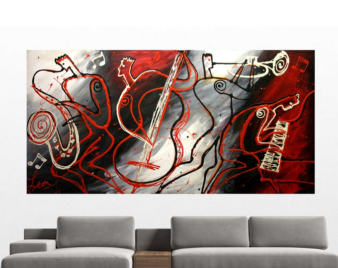 """48""""x24"""" Custom Embellished Large with extra strong Frame Wall Home Decor Jazz  Canvas Abstract Stretched Best Gift  Print  by Leon Zernitsky"""
