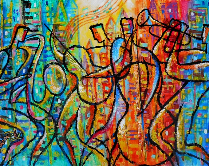 Large Wall Decor Jazz Music Canvas Abstract Stretched Ready to Hang Gift Decorative Print Living room Modern Art by Leon Zernitsky