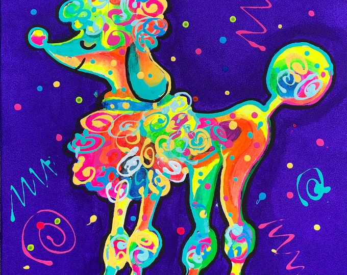 Cute Poodle DOG, Baby Nursery art, Gift for dog lover, Animal ORIGINAL painting, Colourful Abstract Wall Art , Wall decor, Acrylic Painting