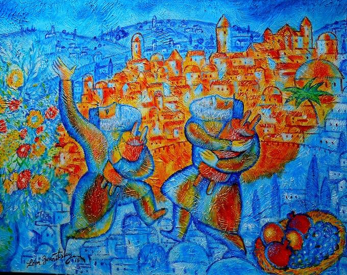 Original Jewish JERUSALEM OF GOLD Rosh Hashanah Canvas Art Abstract Judaica Torah Modern Art Ready to Hang by Leon Zernitsky