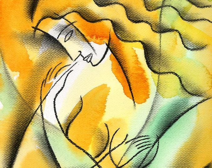 Stretched Canvas Print Contemporary Decorative Modern Art nude woman by Leon Zernitsky.