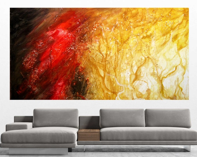 """Large Custom Made 60""""x30""""Abstract Wall Decorative Stretched Canvas Print Contemporary Best Gift Decor Modern Art  by Leon Zernitsky."""