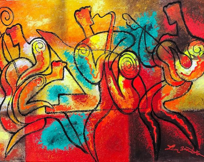 Jazz Music Art acrylic painting Jazz Klezmer canvas PRINT Guitar Jazz Poster Music Best Gift Club Decor Extra Large Wall Art