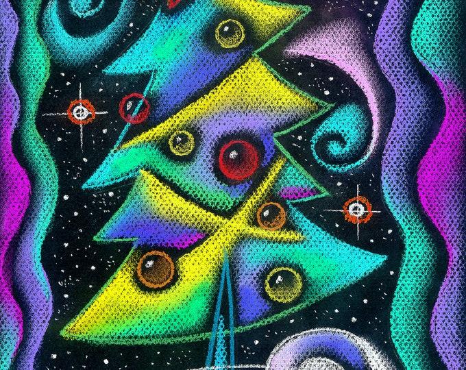 Christmas Tree, Holliday Season Canvas Print, Nursery Art, Baby room art, Wall Decor, Girls room decor, Leon Zernitsky Art