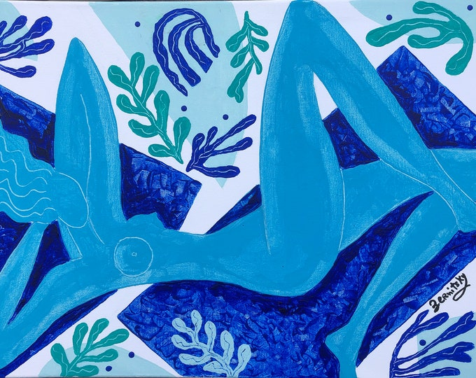 Original Painting on canvas, Contemporary Decor, Matisse style gift, Decorative Modern Textured Wall Art nude woman by Leon Zernitsky.