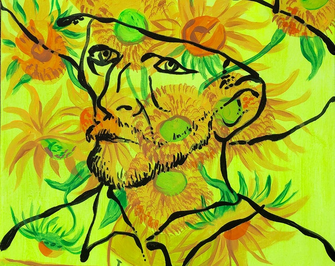 Canvas Art Contemporary Decorative Portrait of Vincent Van Gogh Modern Abstract Print Home Decor by Leon Zernitsky
