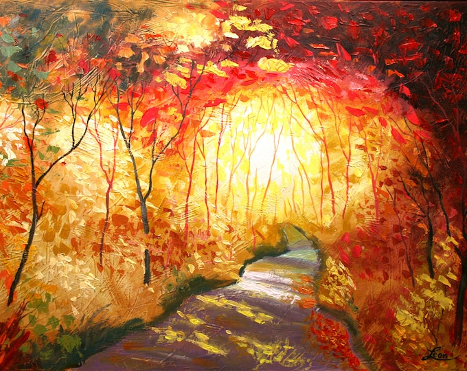 Wall Decor Road to the Sun Print Landscape Stretched Canvas Print Contemporary Decorative Modern Art by Leon Zernitsky