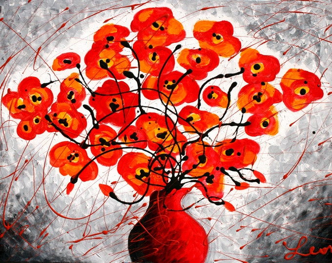 Large Home Wall Decor Stretched Canvas Print Romantic Red Poppies Flowers Modern Art by Leon Zernitsky best Gift