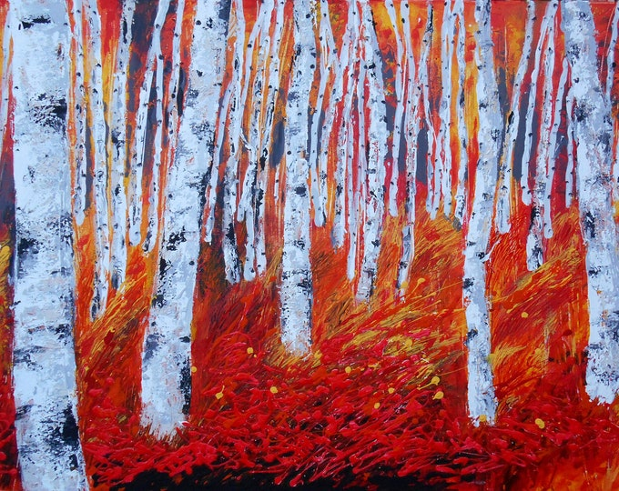 ORIGINAL ART, Abstract Painting , Decorative Art , Wall Art , Modern Painting, BIRCH Tree in Gold, Canvas stretched on a wooden frame
