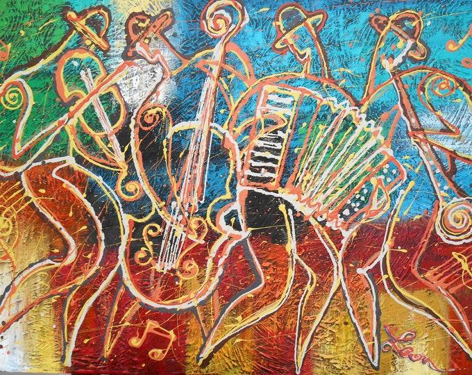 Best Gift Large Canvas Art Print  Decorative Jazz Klezmer Music Modern Abstract Print Home Wall Decor by Leon Zernitsky