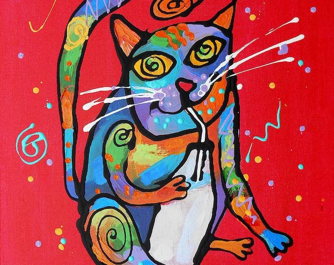 Cute Smart CAT, Baby Nursery art, Girls room decor, Animal Canvas Print, Colourful Abstract Wall Art , Wall decor, Acrylic Painting