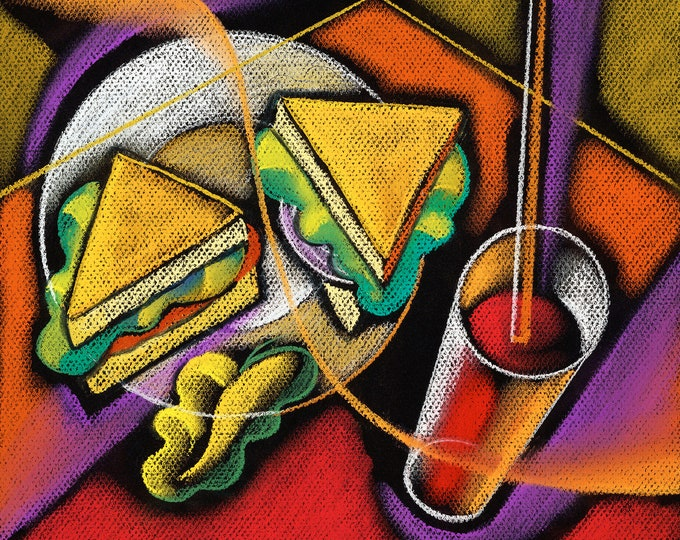 Large Wall Decorative Stretched Canvas Print Contemporary Modern Art Sandwich Lunch  by Leon Zernitsky.Mother's Day Gift
