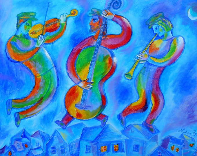 ORIGINAL ART, Judaica Art , Wall Art , Modern Jewish Painting Marc Chagall style,Klezmer Music Painting, stretched on a wooden frame