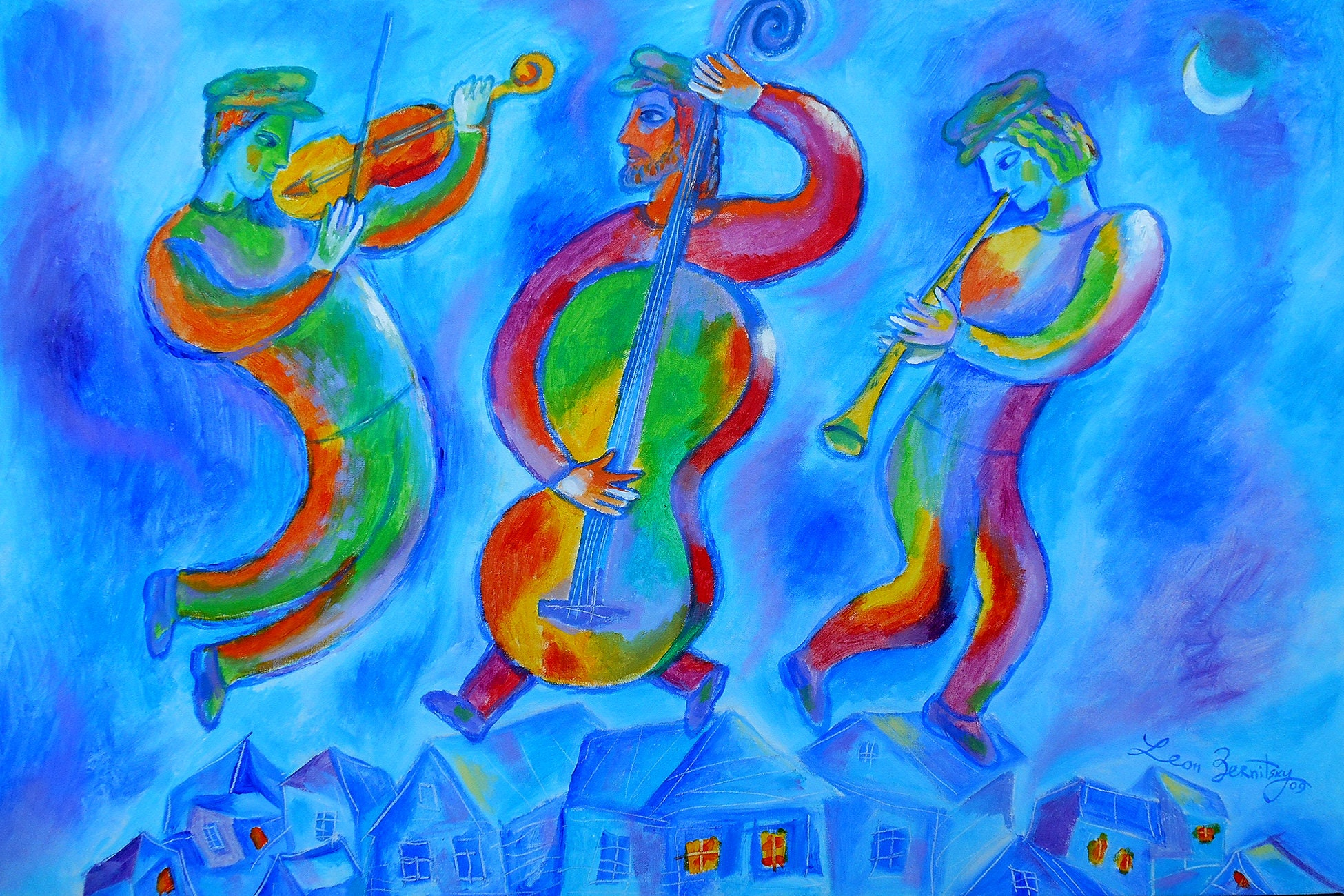 Original Art Judaica Art Wall Art Modern Jewish Painting Marc Chagall Style Klezmer Music Painting Stretched On A Wooden Frame