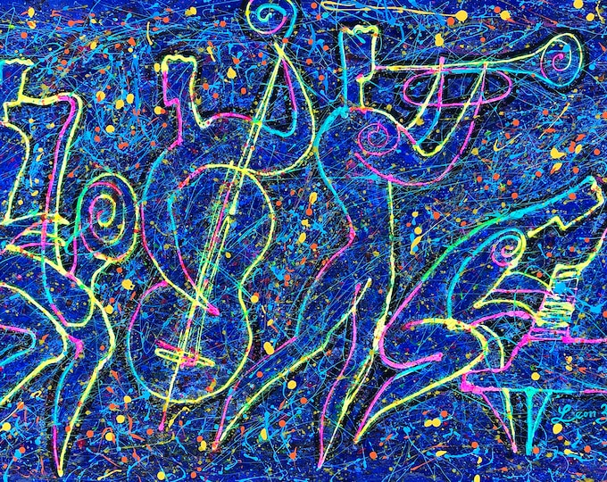 """Custom made 60x30"""" Large Wall Home Decor Jazz Music Canvas Stretched Jackson Pollock style  Print Living room Modern Art by Leon Zernitsky"""