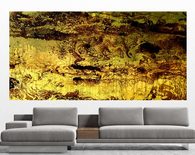 """Large 60""""x30"""" Abstract Wall Decorative Stretched Custom Made Canvas Print Contemporary Modern Room decor Art  by Leon Zernitsky."""