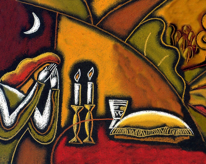 "Shabbat  Original Art on Canvas Israel Judaica Modern Jewish  MADE-TO-ORDER Art 60""x40"" by Leon Zernitsky"