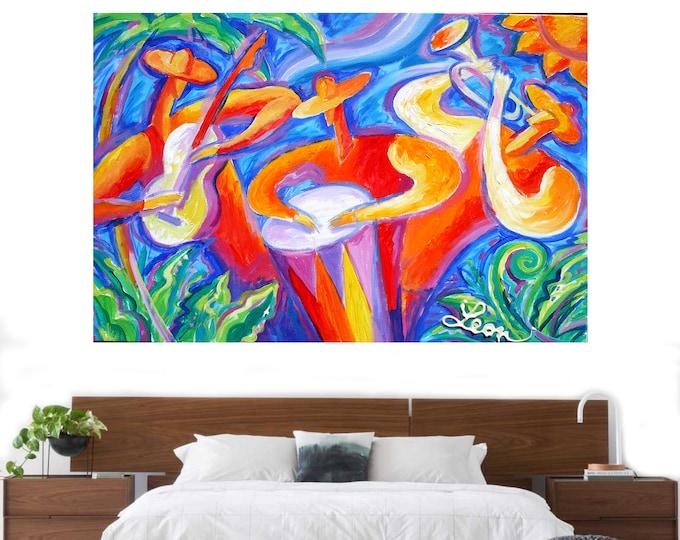 Canvas Art Abstract Stretched Home Decor Canvas Print Latin Jazz Music Modern Art by Leon Zernitsky