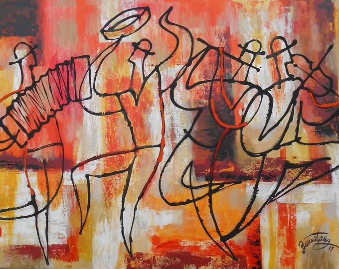 Canvas Wall Decor Art Abstract Stretched Ready to Hang Jewish Canvas Print Klezmer Jazz Music Modern Art by Leon Zernitsky