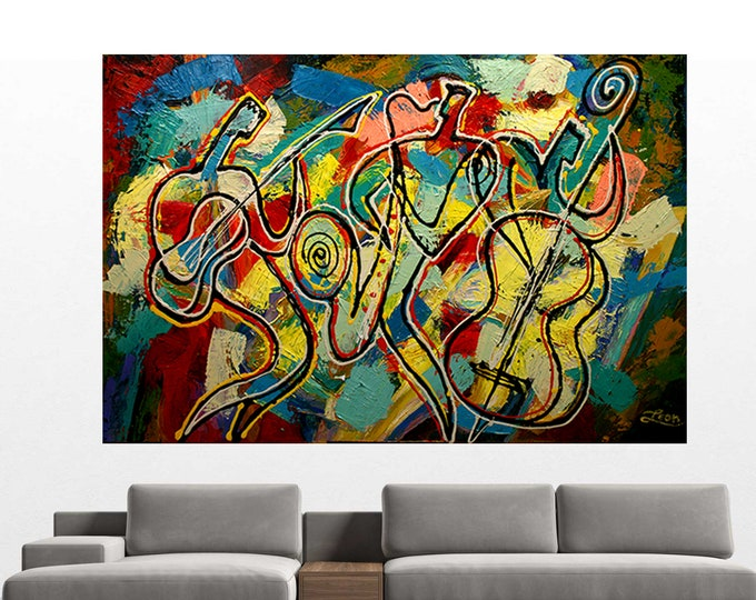Stretched Canvas Art Contemporary Decorative Jazz Klezmer Music Modern Abstract Print Home Decor by Leon Zernitsky