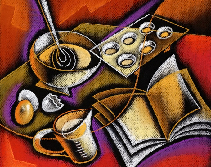 Large Home Wall Decorative Stretched Canvas Print Contemporary Modern Art Cooking and Food Preparation by Leon Zernitsky best Gift