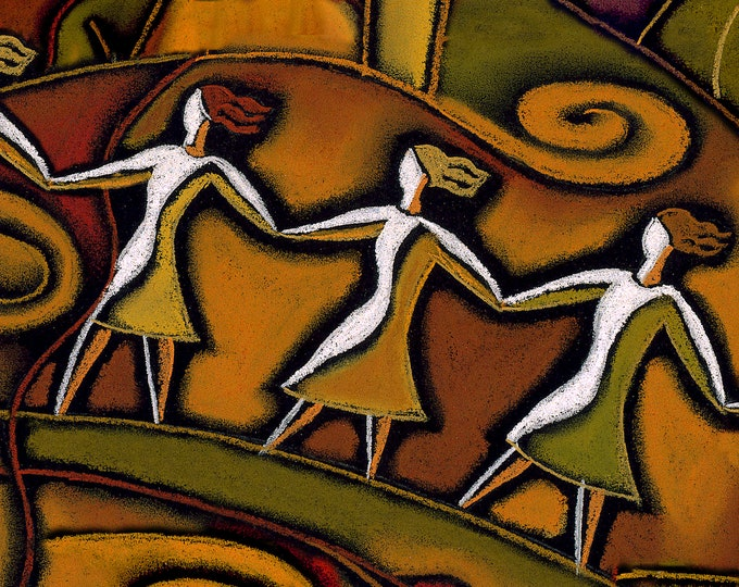 Canvas Art Stretched Abstract Modern Art Print Woman Support  by Leon Zernitsky. Ready to Hang
