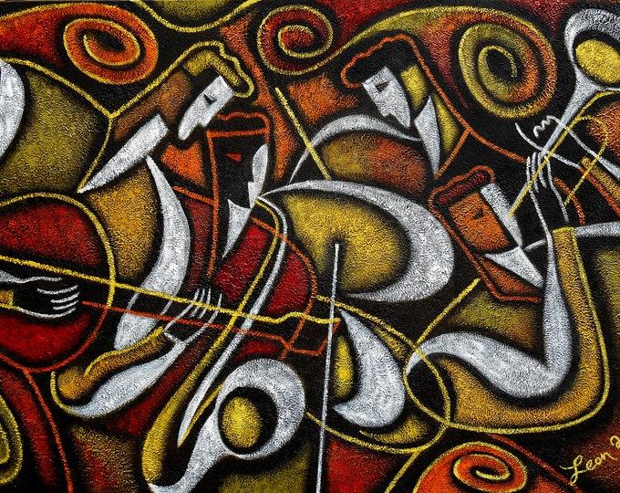 "Custom 60""x40"" Extra Large  Stretched Canvas Art Best Gift Modern Jazz Klezmer Music Modern Abstract Print Home Wall Decor by Leon Zernitsky"