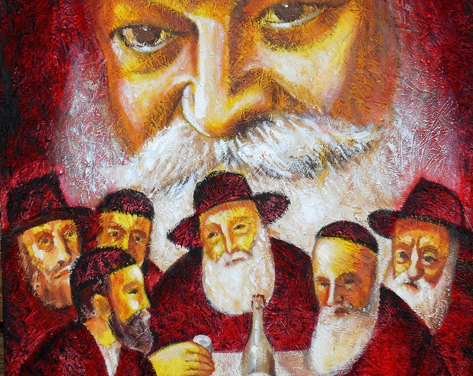 Original Jewish Chabad Lubavich Rebbe Farbrengen Canvas Art Abstract Judaica Torah Modern Art Ready to Hang by Leon Zernitsky