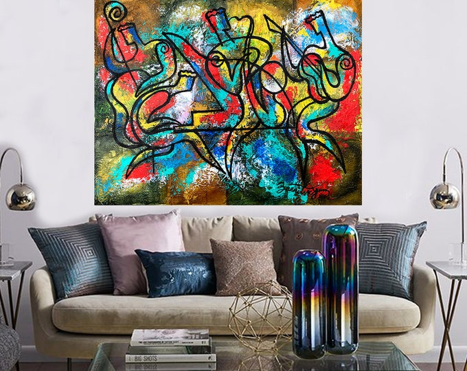 Canvas Wall Home Decor Art Abstract Extra Large Stretched Best Gift Canvas Print Jazz Music Modern Art by Leon Zernitsky