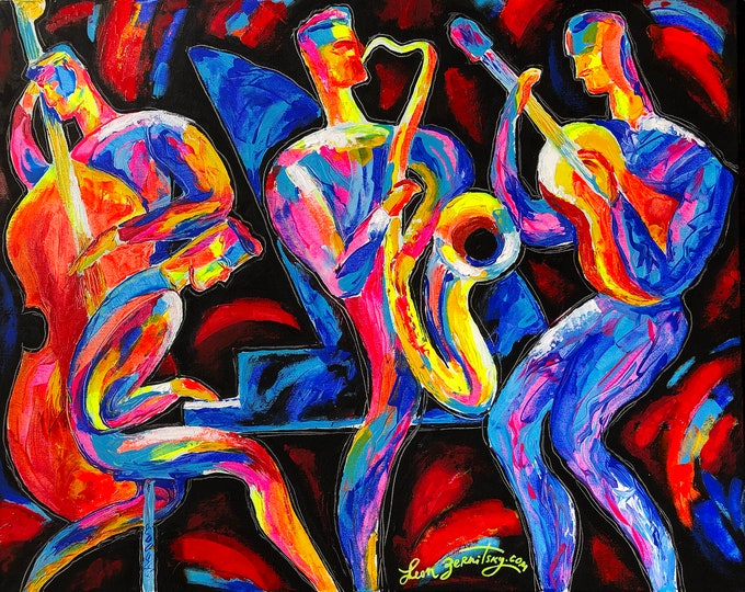 ORIGINAL ART, Abstract Painting , Abstract Art , Wall Art , Modern Painting,  Gift forJazz Music lover, Painting stretched on a wooden frame
