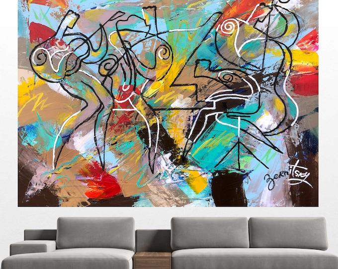 Large Wall Decor Night City Blues Jazz Rock Music Canvas Abstract Decorative Best Gift Print Living room Modern Art by Leon Zernitsky