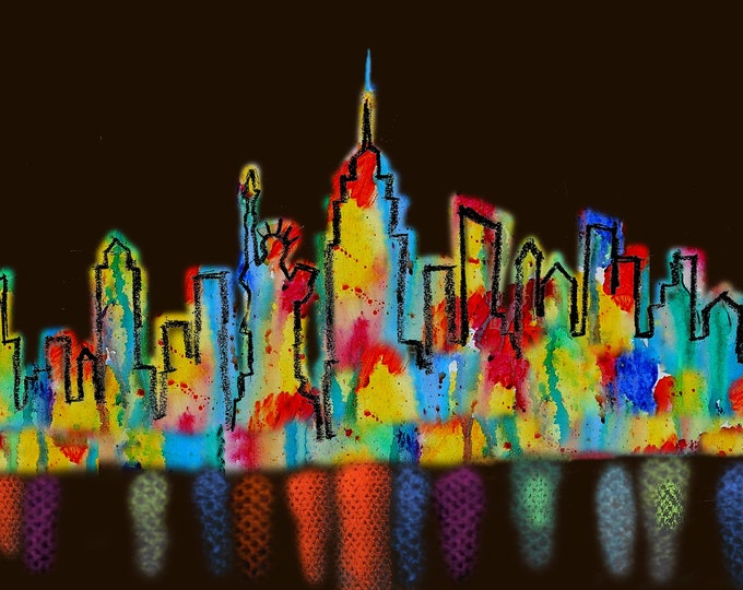 """New York USA Skyline, Large Custom Made 60""""x30"""" Wall Cityscape Stretched Canvas Print, Abstract Modern Art, Ready to Hang by Leon Zernitsky"""