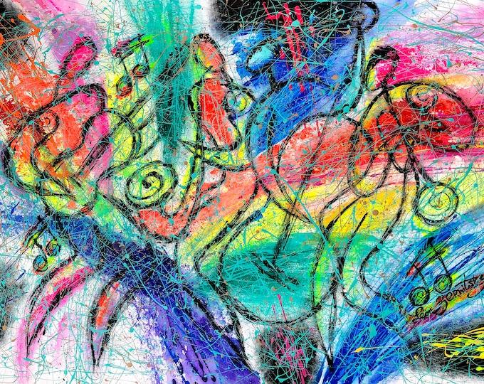 ORIGINAL ART, Abstract Painting gift, Art , Wall Art , Latin American Music Modern jazz Painting, Painting by Leon Zernitsky