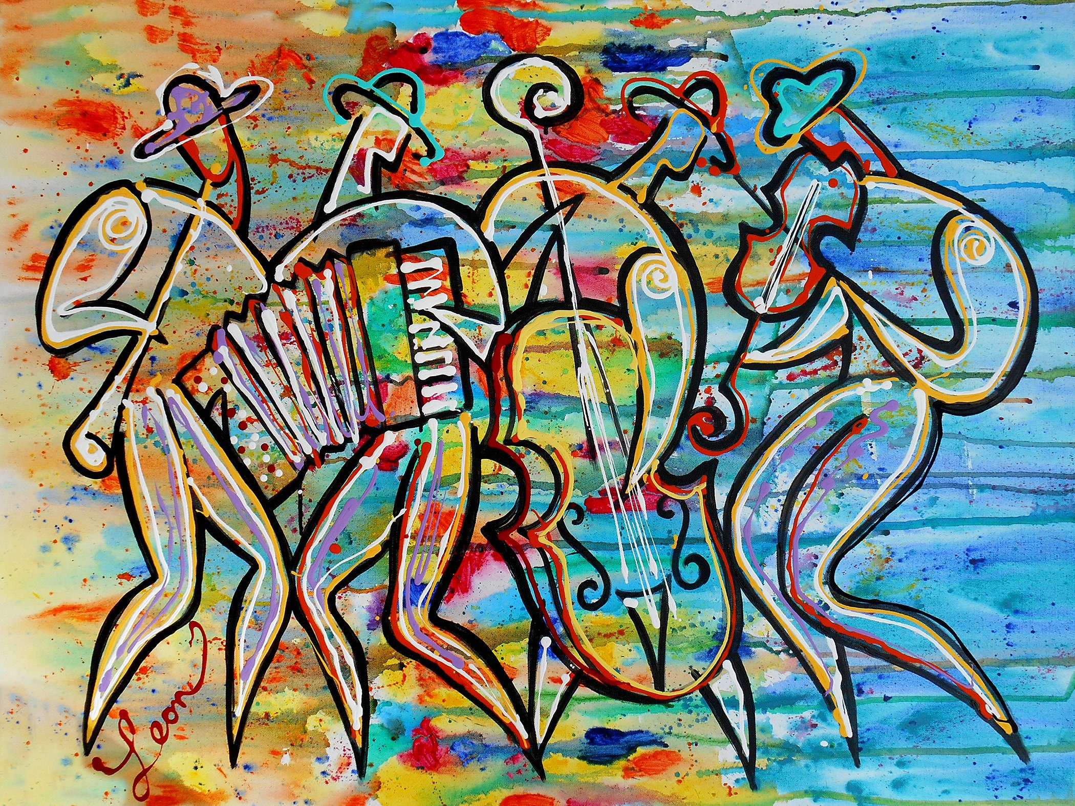Original Art Abstract Painting Jewish Art Jazz Wall Art Modern Judaica Painting Klezmer Music Painting Stretched On A Wooden Frame