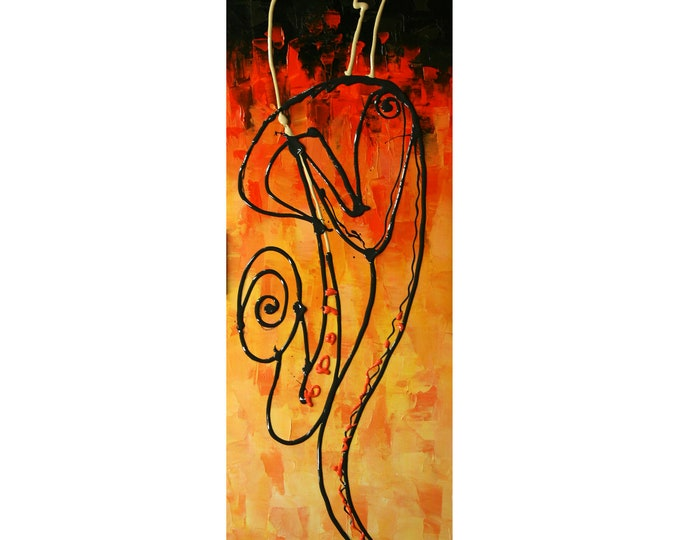 Custom made Canvas Art Abstract sax Stretched Ready to Hang Canvas Print Jazz Music Modern Art by Leon Zernitsky