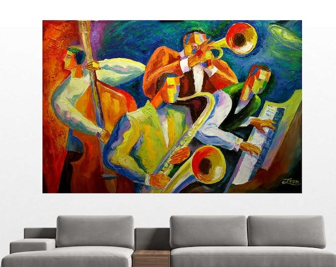 Jazz Music wall art acrylic painting Jazz Klezmer canvas PRINT Guitar Sax Jazz Poster Music Best Gift Jazz Club Decor Extra Large Wall Art