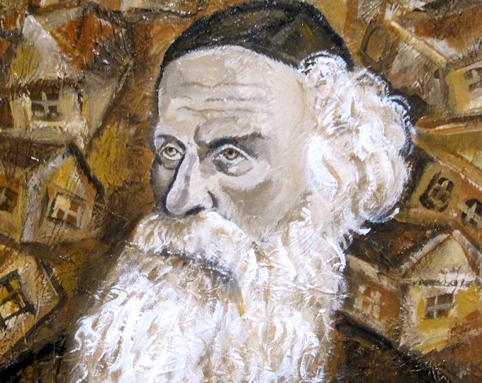 Alter Rebbe Portreit Stretched Canvas Jewish Home Wall Decor Print Abstract Lubavitch Judaica Modern Art by Leon Zernitsky