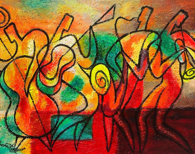 Original Art Stretched Chagall Style Canvas Art Contemporary Decorative Jazz Klezmer Music Modern Abstract Home Wall Decor by Leon Zernitsky