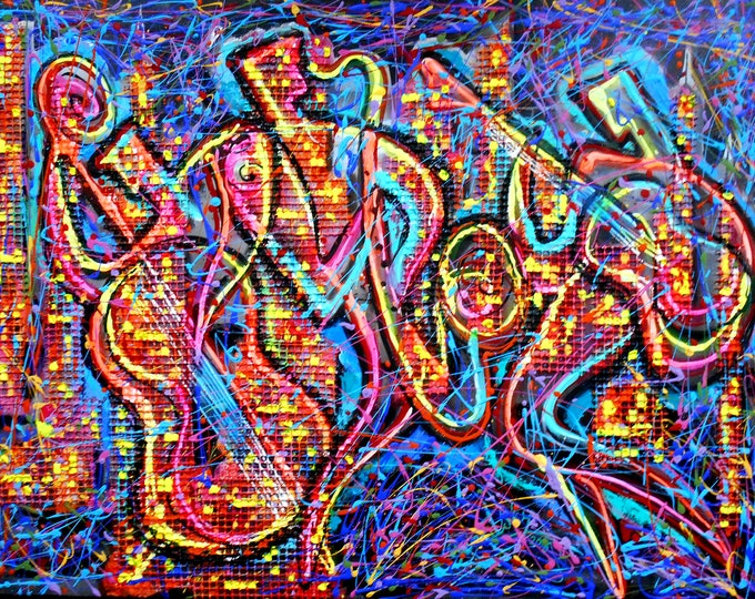 Best Gift Wall Decor Night City Jazz Music Canvas Abstract  Decorative Print Gift Extra Large wall Modern Art by Leon Zernitsky
