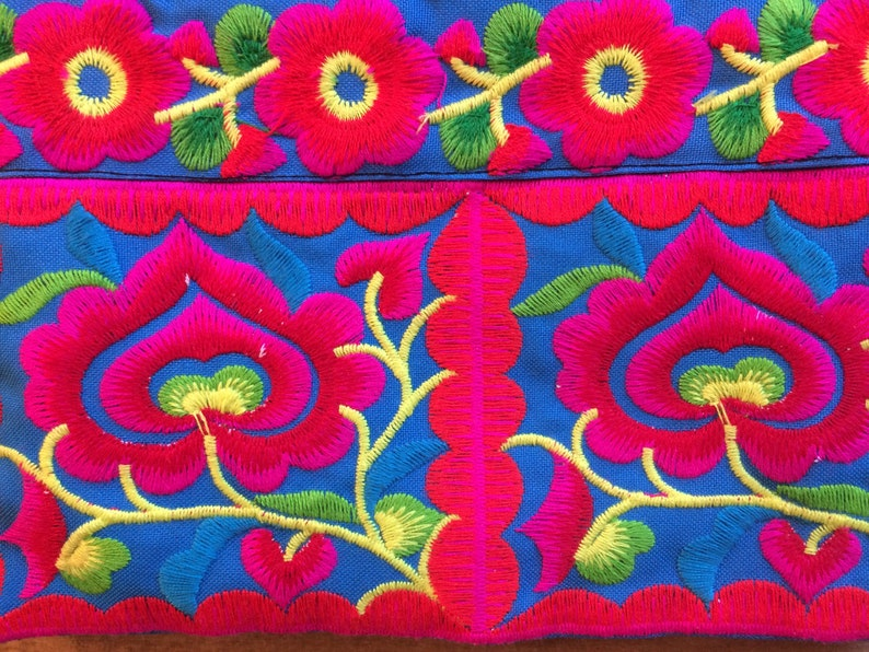 Blue Thai floral embroidered pencil case