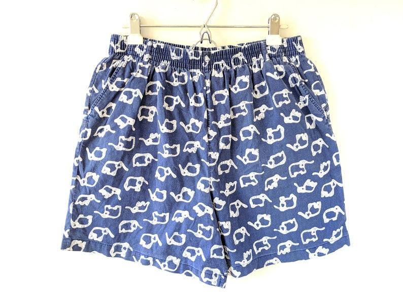 Vintage 80s All-Over Elephant Pattern Print Shorts Blue White Beach Board Bottoms Pockets Cotton Mens Medium