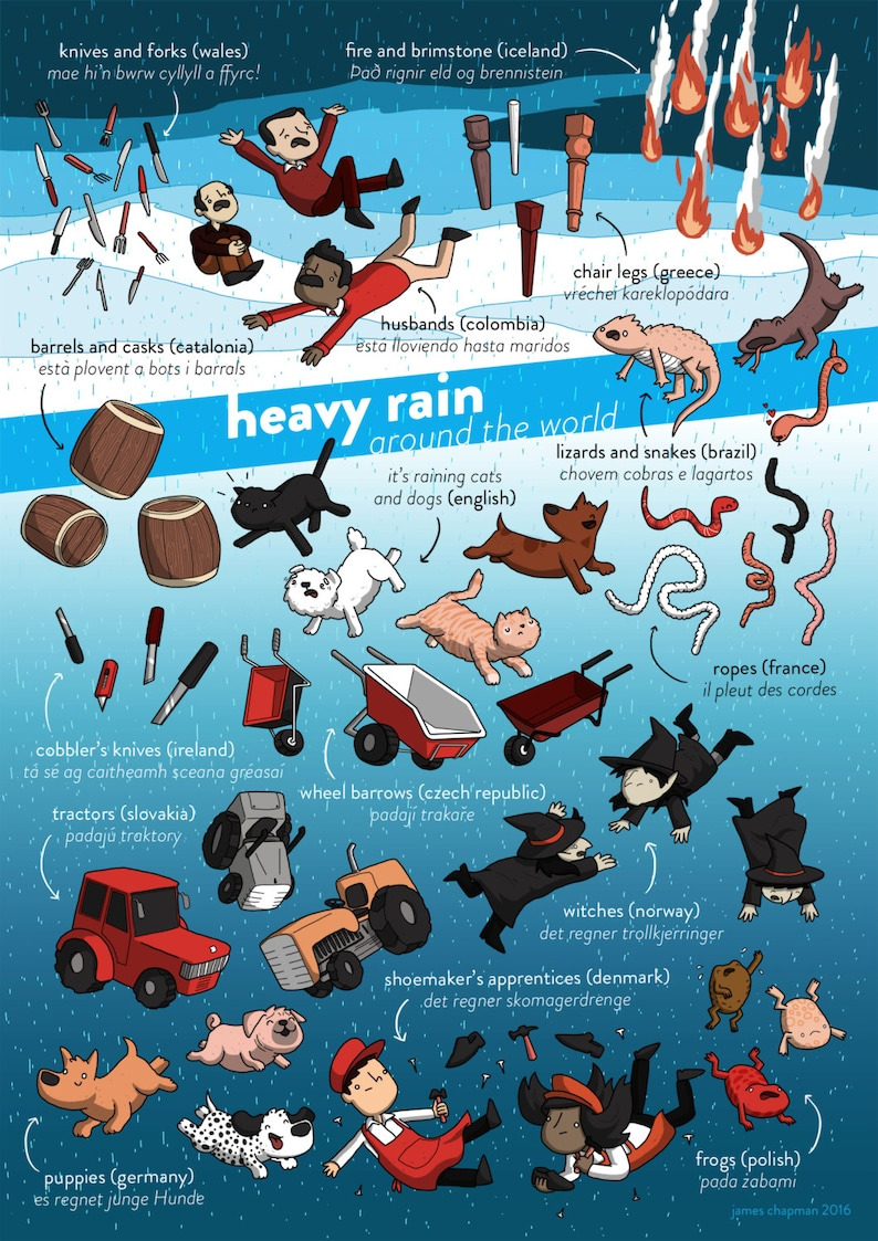 Raining Cats and Dogs in Other Lanaguges A3 poster image 0